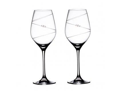 Sklenice na bílé víno přátelská souprava Ring - 2 ks Swarovski