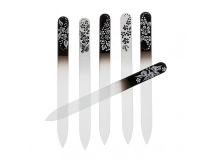 Pilník skleněný black & white velký. Dekorováno krystalky Swarovski.