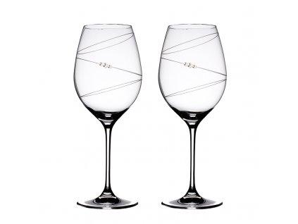 Sklenice na červené víno přátelská souprava Ring - 2 ks Swarovski
