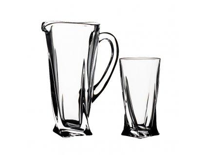 Crystalite Bohemia Quadro set sklenice a džbán 6+1