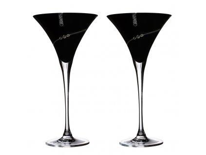 Sklenice Silhouette Black na Martini přátelská souprava - 2 ks. Swarovski
