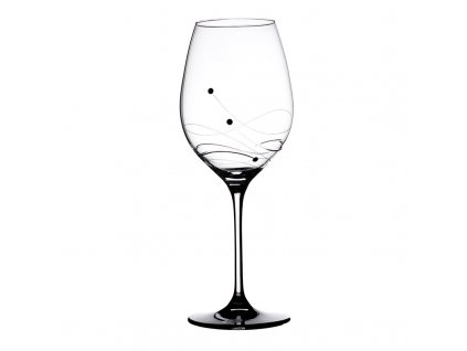 Sklenice na červené víno Vanesa black - 6 ks Swarovski