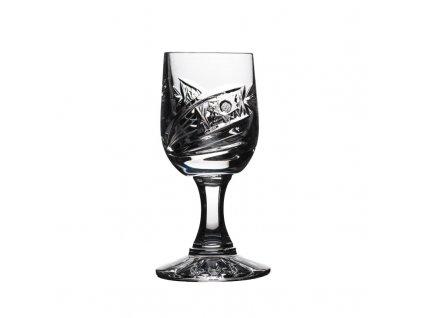 Broušené sklenice na likér na nožce. 6 ks. Brus kometa.