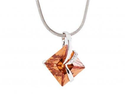 Stříbrný přívěsek Attractive s kubickou zirkonií Preciosa - oranžový