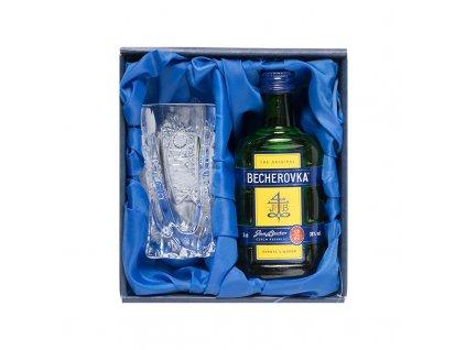 Becher set, Becherovka 0,05l a broušená sklenička