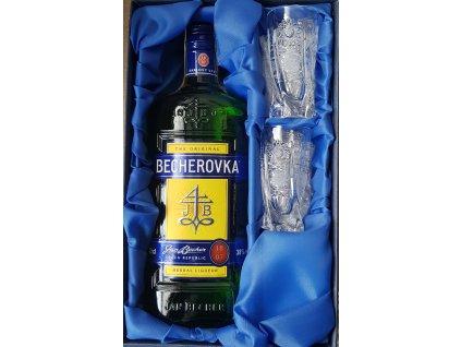 Becher set, Becherovka 0,5l a 2ks. broušených skleniček