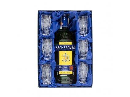 Becher set, Becherovka 0,7l a 6ks. broušených skleniček