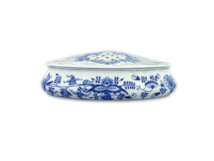 Bonboniéra oválná s víkem - cibulový porcelán
