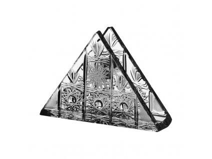 Broušené sklo, stojánek na ubrousky trojúhelník. Klasický brus 500 PK.