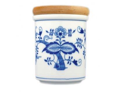 Dóza s dřevěným uzávěrem B - střední - cibulový porcelán 10475