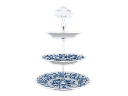 Etažér 3-dílný - talíře plné / zlac. tyčka - cibulový porcelán 70298