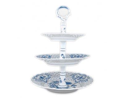 Etažér 3-dílný - talíře prolam. / porc. tyčka - cibulový porcelán 70282