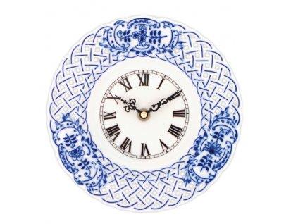 Hodiny prolamované se strojkem 24 cm - cibulový porcelán 10339