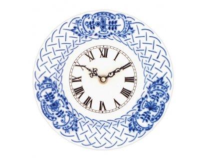 Hodiny reliéfní se strojkem 18 cm - cibulový porcelán 10341
