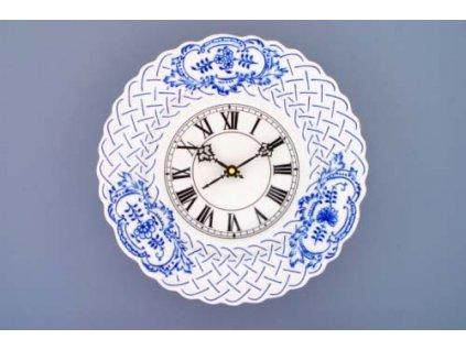 Hodiny reliéfní se strojkem 27 cm - cibulový porcelán 10343