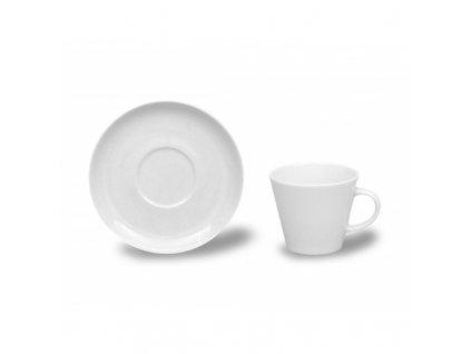 Kávové šálky s podšálkem 200ml, Thun 1794, karlovarský porcelán, TOM bílý, nedekorovaný 6ks.