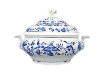 Mísa polévková oválná s víkem s výř. - cibulový porcelán 70082