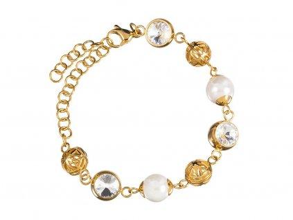 Náramek z chirurgické oceli Lotus Pearl s říčními perlami Preciosa