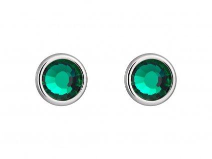 Náušnice z chirurgické oceli Carlyn s českým křišťálem Preciosa - zelené