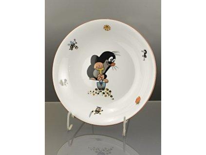 Porcelánový talíř hluboký krteček s rýčem