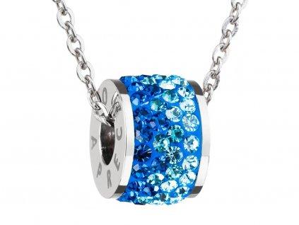 Přívěsek z chirurgické oceli Mirai s českým křišťálem Preciosa - modrý