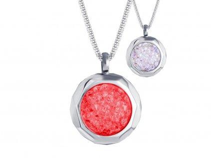 Přívěsek z chirurgické oceli Duo Colour s českým křišťálem Preciosa - červený, bílý