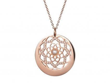 Přívěsek z chirurgické oceli Flower of Love s pravou říční perlou - růžový