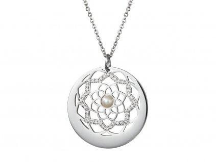 Přívěsek z chirurgické oceli Flower of Love s pravou říční perlou - stříbrný