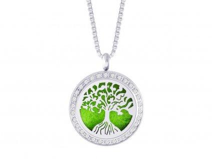 Přívěsek z chirurgické oceli Perfumed Tree of Life s kubickou zirkonií Preciosa