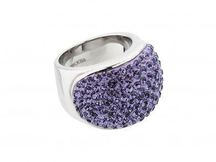 Prsten z chirurgické oceli Brillant s českým křišťálem Preciosa - fialový