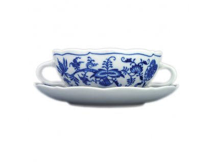 Šálek s podšálkem bujón s oušky - cibulový porcelán 70231