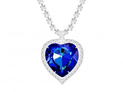 Štrasový náhrdelník ve tvaru srdce s českým křišťálem Preciosa - modrý