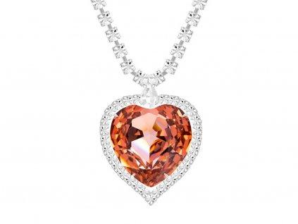 Štrasový náhrdelník ve tvaru srdce s českým křišťálem Preciosa - oranžový