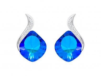 Stříbrné náušnice Butterfly Dream s českým křišťálem Preciosa - modré
