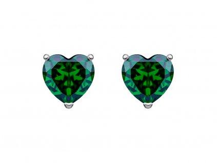 Stříbrné náušnice Cher, srdce s kubickou zirkonií Preciosa, zelené 5237 66