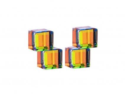 Stříbrné náušnice Crystal Cubes s českým křišťálem Preciosa - kombi