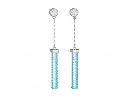 Stříbrné náušnice Crystal Line, modré
