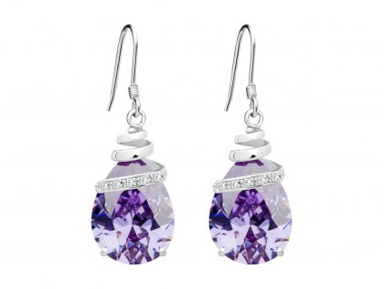 Stříbrné náušnice Elegant s kubickou zirkonií Preciosa - fialové
