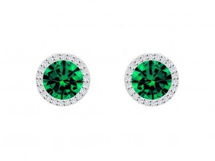 Stříbrné náušnice Lynx s kubickou zirkonií Preciosa, zelené 5269 66