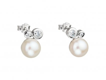 Stříbrné náušnice Mere s říční perlou Preciosa