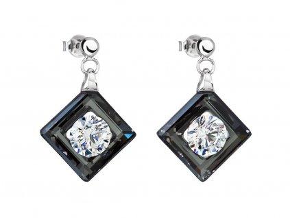 Stříbrné náušnice Precious s kubickou zirkonií Preciosa - černé