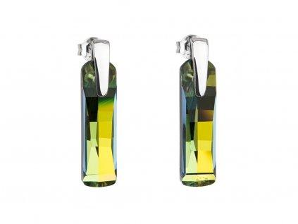 Stříbrné náušnice Shining Strip s českým křišťálem Preciosa - zelené