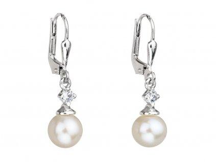 Stříbrné náušnice Smart s pravou říční perlou Preciosa