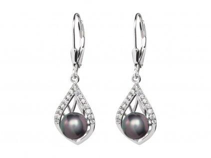 Stříbrné náušnice Touch of Luxury s černou říční perlou Preciosa 5210 20