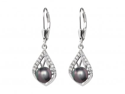 Stříbrné náušnice Touch of Luxury s černou říční perlou Preciosa