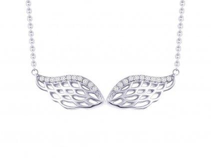 Stříbrný náhrdelník Angel Wings s kubickou zirkonii Preciosa