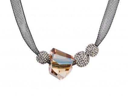 Stříbrný náhrdelník Charme s českým křišťálem Preciosa - hnědý