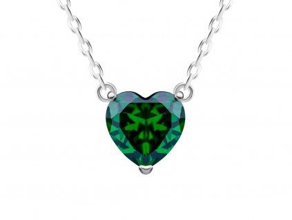 Stříbrný náhrdelník Cher, srdce s kubickou zirkonií Preciosa, zelený 5236 66