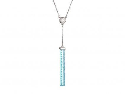 Stříbrný náhrdelník Crystal Line, modrý