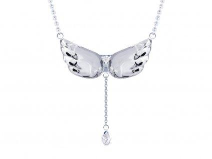 Stříbrný náhrdelník Crystal Wings s křišťálem Preciosa